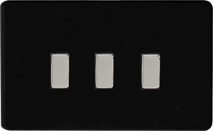 XDL93S Varilight 3 Gang, 1 or 2 Way 10 Amp Switch on a Double Plate, Dimension Screwless Premium Black
