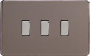 XDR93S Varilight 3 Gang (Triple), 1or 2 Way 10 Amp Switch, Dimension Screwless Pewter Power Grid Plate  (Double Plate)