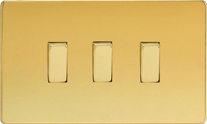 XDV93S Varilight 3 Gang, 1 or 2 Way 10 Amp Switch on a Double Plate, Dimension Screwless Polished Brass