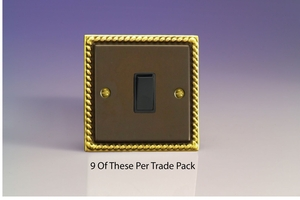 XA1B-P9   This is a Trade Pack of 9 items per box. Varilight 1 Gang, 1 or 2 Way 10 Amp Switch, Classic Antique Georgian