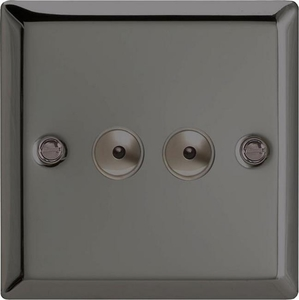III252M Varilight 2 Gang, 1 or 2 Way or Multi-way 2x250 Watt Touch/Remote Master Dimmer, Classic iridium Black