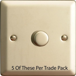 HN3-P5  This is a Trade Pack with 5 Units per box. Varilight V-Dim Series, 1 Gang, 1 or 2 Way 400 Watt Dimmer, Satin Chrome