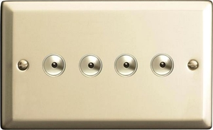 INI254M Varilight 4 Gang, 1 or 2 Way or Multi-way 4x250 Watt Touch/Remote Master Dimmer, Classic Satin Chrome