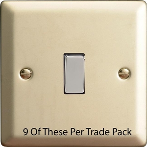 XN1D-P9   This is a Trade Pack item: 9 Units per box.  Varilight 1 Gang (Single), 1 or 2 Way 10 Amp Switch, Satin Chrome