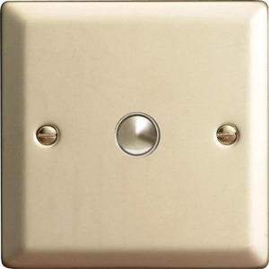 XNM1 Varilight 1 Gang (Single), 1 Way, 6 Amp Impulse Retractive Switch (Push To Make), Classic Satin Chrome