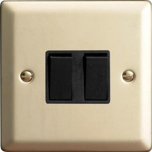 XN2B Varilight 2 Gang (Double), 1 or 2 Way 10 Amp Switch, Classic Satin Chrome