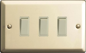 XN93W Varilight 3 Gang (Triple), 1or 2 Way 10 Amp Switch, Classic Satin Chrome (Double Plate)