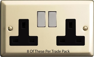 XN5DB-P8  This is a Trade Pack item: 8 Units per box. Varilight 2 Gang (Double), 13 Amp Switched Socket, Satin Chrome
