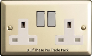 XN5DW-P8  This is a Trade Pack item: 8 Units per box. Varilight 2 Gang (Double), 13 Amp Switched Socket, Satin Chrome