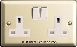 XN5W-P8  This is a Trade Pack item: 8 Units per box. Varilight 2 Gang (Double), 13 Amp Switched Socket, Satin Chrome