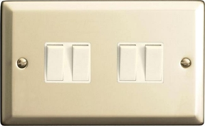 XN9W Varilight 4 Gang (Quad), 1or 2 Way 10 Amp Switch, Classic Satin Chrome (Double Plate)