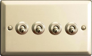XNT9 Varilight 4 Gang (Quad), 1or 2 Way 10 Amp Classic Toggle Switch, Classic Satin Chrome (Double Plate)