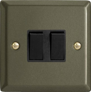 XP2B Varilight 2 Gang (Double), 1 or 2 Way 10 Amp Switch, Classic Graphite 21