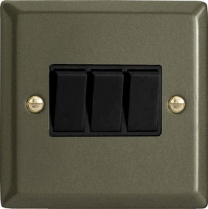 XP3B Varilight 3 Gang (Triple), 1 or 2 Way 10 Amp Switch, Classic Graphite 21