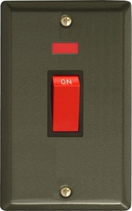 XP45NB Varilight 45 Amp Cooker Switch with Neon (Vertical Double Size), Classic Graphite 21