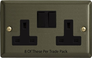 XP5B-P8  This is a Trade Pack item: 8 Units per box. Varilight 2 Gang (Double), 13 Amp Switched Socket, Graphite 21