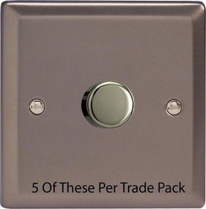 HR3-P5  This is a Trade Pack with 5 Units per box. Varilight V-Dim Series, 1 Gang, 1 or 2 Way 400 Watt Dimmer, Pewter