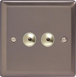 IRI252M Varilight 2 Gang, 1 or 2 Way or Multi-way 2x250 Watt Touch/Remote Master Dimmer, Classic Pewter