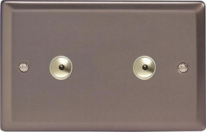 IRI602M Varilight 2 Gang, 2x600W 1 or 2 Way or Multi-way Touch/Remote Master Dimmer, Classic Pewter