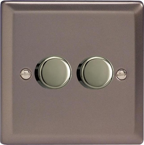 Varilight JRP252, V-Pro Series 2 Gang, 1 or 2 Way, Push-On/Off Rotary LED Dimmer 2 x 0-120W (1-10 LEDs), Classic Pewter