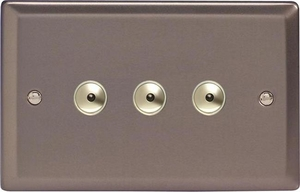 IRI403M Varilight 3 Gang, 1 or 2 Way or Multi-way 3x400 Watt Touch/Remote Master Dimmer, Classic Pewter