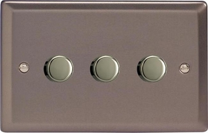 HR73-SP Varilight V-Dim 3 Gang, 1 or 2 Way 3x120 Watt Dimmer For Energy Saving Lamps, Classic Pewter (Bespoke)