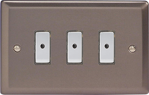 JRE103 - Varilight V-Pro Series Eclique2, 3 gang Intelligent Programmable Master Dimmer, with Tactile Touch Button and Integrated Remote Control Sensor 0-100 Watts of LEDs (10 LEDs Max), Classic Pewter