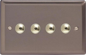 IRI254M Varilight 4 Gang, 1 or 2 Way or Multi-way 4x250 Watt Touch/Remote Master Dimmer, Classic Pewter
