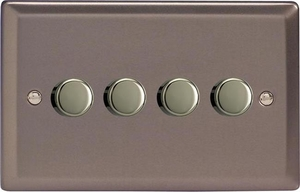 Varilight JRDP254, V-Pro Series 4 Gang, 1 or 2 Way,Push-On/Off Rotary LED Dimmer 4 x 0-120W (1-10 LEDs) (Twin Plate), Classic Pewter