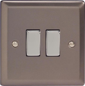 XR2D Varilight 2 Gang (Double), 1 or 2 Way 10 Amp Switch, Classic Pewter