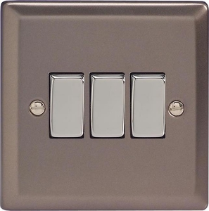 XR3D Varilight 3 Gang (Triple), 1 or 2 Way 10 Amp Switch, Classic Pewter