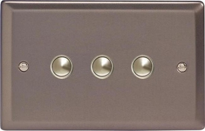 XRM3 Varilight 3 Gang (Triple), 1 Way, 6 Amp Impulse Retractive Switch (Push To Make), Classic Pewter