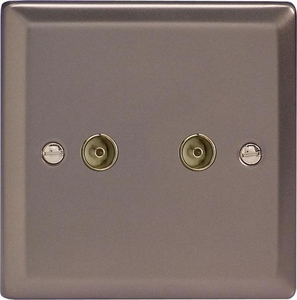 XR88 Varilight 2 Gang (Double), Co-axial TV Socket, Classic Pewter