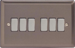 XR96D Varilight 6 Gang 1or 2 Way 10 Amp Switch, Classic Pewter (Double Plate)