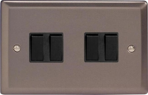 XR9B Varilight 4 Gang (Quad), 1or 2 Way 10 Amp Switch, Classic Pewter (Double Plate)