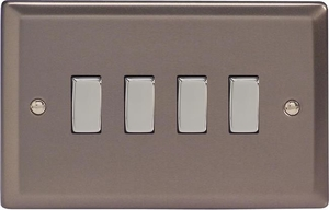 XR9D Varilight 4 Gang (Quad), 1or 2 Way 10 Amp Switch, Classic Pewter (Double Plate)