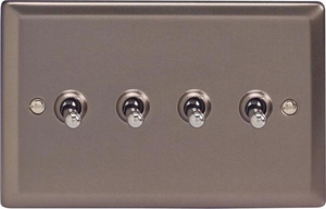 XRT9 Varilight 4 Gang (Quad), 1or 2 Way 10 Amp Classic Toggle Switch, Classic Pewter (Double Plate)