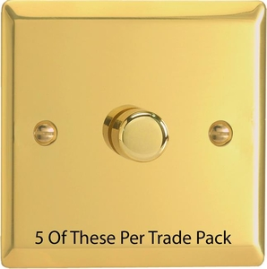 HV3-P5 This is a Trade Pack with 5 Units per box. Varilight V-Dim Series, 1 Gang, 1 or 2 Way 400 Watt Dimmer, Victorian Polished Brass Effect