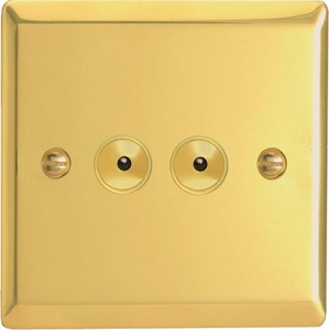 IVI402M Varilight 2 Gang, 1 or 2 Way or Multi-way 2x400 Watt Touch/Remote Master Dimmer, Classic Victorian Polished Brass Effect