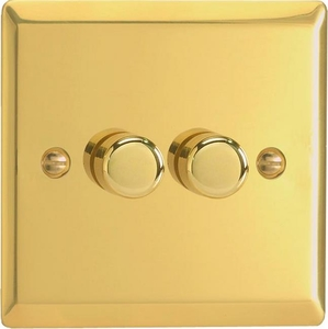 Varilight JVP252, V-Pro Series 2 Gang, 1 or 2 Way, Push-On/Off Rotary LED Dimmer 2 x 0-120W (1-10 LEDs), Classic Victorian Polished Brass Effect