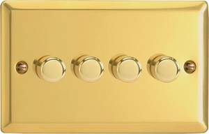 HV44 Varilight V-Dim Series 4 Gang, 1 or 2 Way 4 x250 Watt Dimmer, Classic Victorian Polished Brass Effect