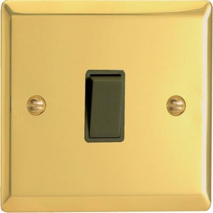 XV7B Varilight 1 Gang (Single), (3 Way) Intermediate 10 Amp Switch, Classic Victorian Polished Brass Effect