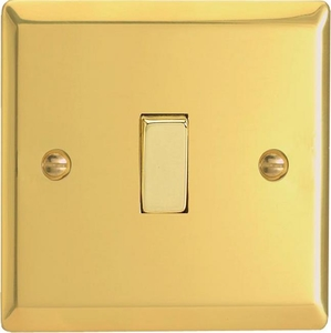 XV7D Varilight 1 Gang (Single), (3 Way) Intermediate 10 Amp Switch, Classic Victorian Polished Brass Effect