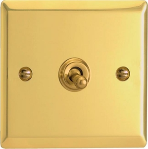 XVT7 Varilight 1 Gang (Single), (3 Way) intermediate Classic Toggle Switch, Classic Victorian Polished Brass Effect