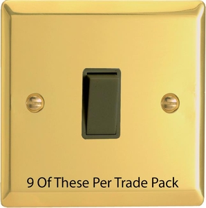 XV1B-P9   This is a Trade Pack item: 9 Units per box.  Varilight 1 Gang (Single), 1 or 2 Way 10 Amp Switch, Victorian Polished Brass Effect