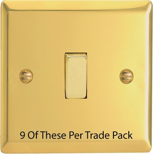XV1D-P9   This is a Trade Pack item: 9 Units per box.  Varilight 1 Gang (Single), 1 or 2 Way 10 Amp Switch, Victorian Polished Brass Effect
