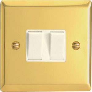 XV77W Varilight 2 Gang (Double), (3 Way) Intermediate 10 Amp Switch, Classic Victorian Polished Brass Effect