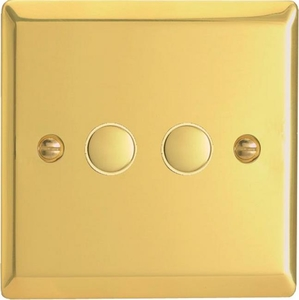 XVP2 Varilight 2 Gang (Double) 1 or 2 way 6 Amp Push-on Push-off Switch (impulse), Classic Victorian Polished Brass Effect
