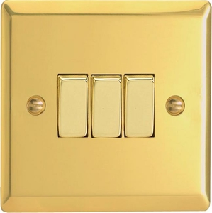 XV3D Varilight 3 Gang (Triple), 1 or 2 Way 10 Amp Switch, Classic Victorian Polished Brass Effect