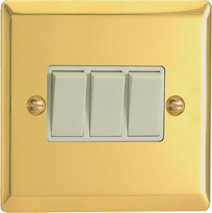 XV3W Varilight 3 Gang (Triple), 1 or 2 Way 10 Amp Switch, Classic Victorian Polished Brass Effect